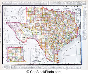 Antique Map of Texas, TX United States, USA - Vintage map of...