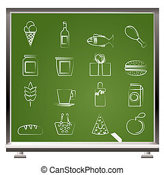 painted with chalk shop, food and drink icons - vector icon...