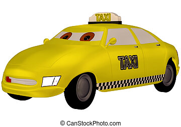 Taxi - a funny yellow taxi - isolated on white
