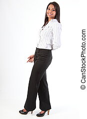 Relaxed beautiful business woman - Full length shot of...