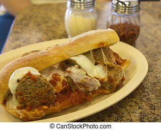 Meatball Sub on French Bread - A hot meatball sandwich on...