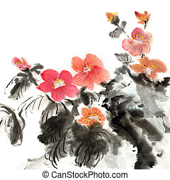Colorful Chinese painting, traditional ink artwork of...
