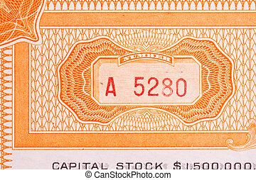 Series Number Old Stock Certificate Ornate Design - Number...