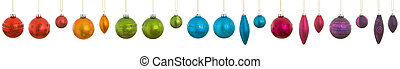 Hanging Rainbow Christmas Ornaments Isolated White -...