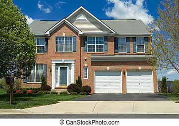 Front View Brick Single Family Home Suburban MD - Tidy...