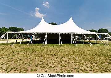 Large White Event Tent, Grass, Blue Sky