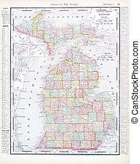 Antique Map of Michigan, MI, United States, USA - Vintage...