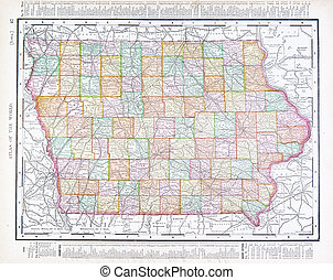 Antique Vintage Color Map of Iowa, USA