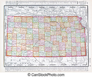 Antique Vintage Color Map of Kansas, USA