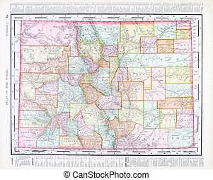 Antique Color Map of Colorado, United States, USA - Vintage...