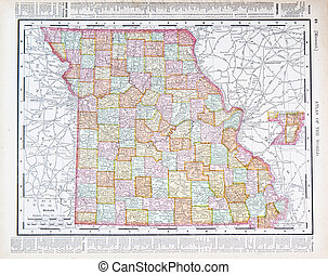 Antique Color Map Missouri, MO, United States, USA - Vintage...