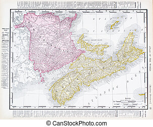 Antique Map Canadian Maritime Provinces, Canada - Vintage...