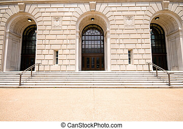 Sandstone Facade Entrance IRS Building Washington - Imposing...