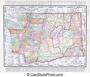 Antique Vintage Color Map of Washington State, USA - Vintage...