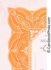 Old Stock Certificate Maple Leaf Abstract Designs - Close up...