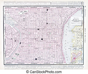City Street Map of Philadelphia, Pennsylvania, USA - Vintage...