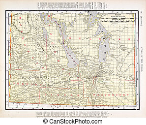 Antique Vintage Color Map of Manitoba, Canada - Vintage map...