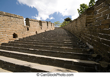 Restored Steps Mutianyu Great Wall, Beijing, China - Looking...