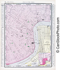 Detailed Antique Street Map New Orleans Louisiana - Vintage...