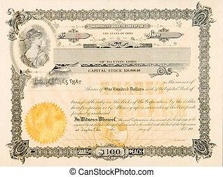 viejo, acción, certificado, Ohio, estados unidos de...