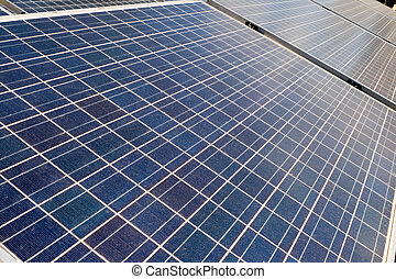 Diminishing Perspective Photovoltaic Solar Panels - Rows of...