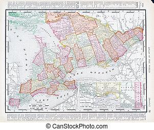 Antique Vintage Color Map Ontario Province, Canada - Vintage...