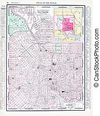 Antique Color Street Map Baltimore, Maryland, USA