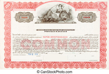 U.S. Stock Certificate 1916 Woman Reclining Lion - U.S....