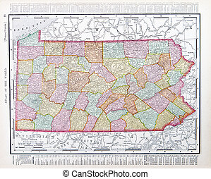 Antique Map Pennsylvania PA United States USA - Vintage map...