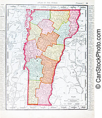 Antique Vintage Color Map of Vermont, USA from 1900