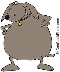 Upset Dog - This illustration depicts an upset dog with its...