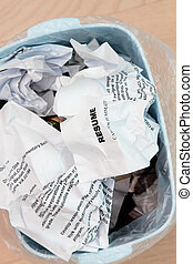 Resume crumpled up and tossed in frustration - resumes...