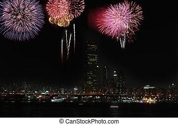 Fireworks at Han River - International fireworks festival at...