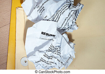 Resumes crumpled