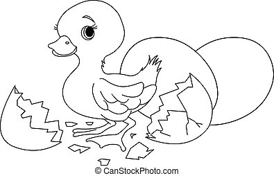 Easter surprise. Coloring page - Easter duckling jumping out...