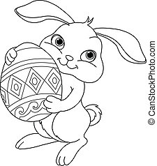 Easter bunny. Coloring page - Illustration of happy Easter...