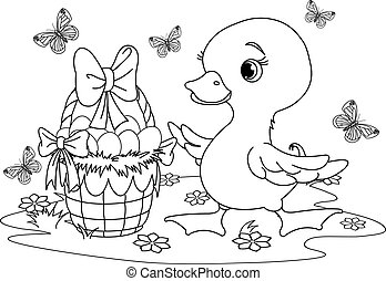Easter duckling. Coloring page - Easter duckling with a...