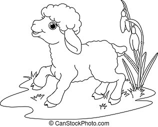 Easter lamb. Coloring page - Easter lamb on the meadow....