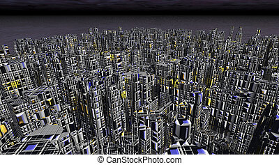 Science Fiction City - Digital visualization of a science...