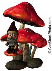 Garden Gnome - a cute Garden Gnome - isolated on white
