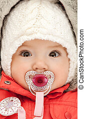 adorable baby with pacifier - bright picture of adorable...