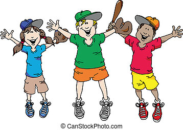 Baseball is Back - Illustration of a group of kids happy...