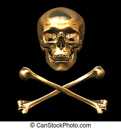 Skull and Bones 3D illustration plated in gold
