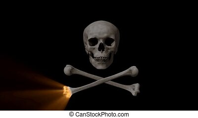 Skull and Bones 3D animation with laser light swiping and...