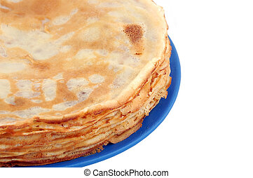 Pancakes on blue plate, isolated on white background