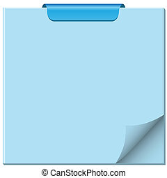 Notepad with page curled up, clip at top of pad and ample...