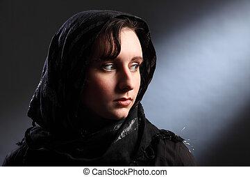 美麗, 年輕, 婦女, 穿, headscarf, 教堂