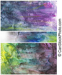 Beautiful watercolor background in soft yellow, purple and green Great for textures and backgrounds for your projects