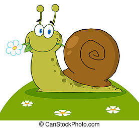 Happy Snail With A Flower In Its Mouth On A Hill