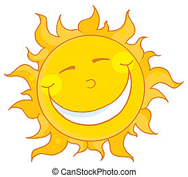 Sun Smiling - Smiling Sun Mascot Cartoon Character